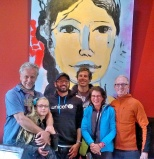 Back in Cusco. Titus, his daughter Toulouse, David and Alvaro all in front of one of Titus's paintings.