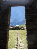 View from Llactapata Ruins over to Machu Picchu.